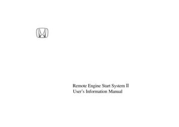 Remote Engine Start System User's Information Manual