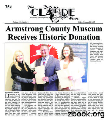 Volume 128, Number 8 Armstrong County Museum Receives .