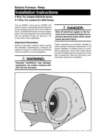 Electric Furnace - Relay Installation Instructions