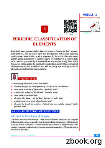 6 PERIODIC CLASSIFICATION OF ELEMENTS