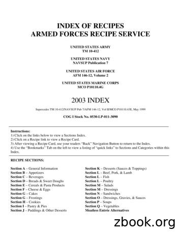 INDEX OF RECIPES ARMED FORCES RECIPE SERVICE
