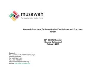 Musawah Overview Table on Muslim Family Laws and Practices .