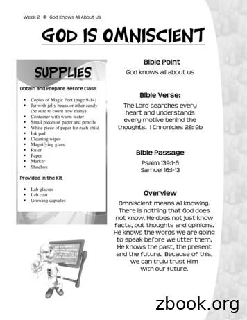 Week 2 God Knows All About Us God Is Omniscient
