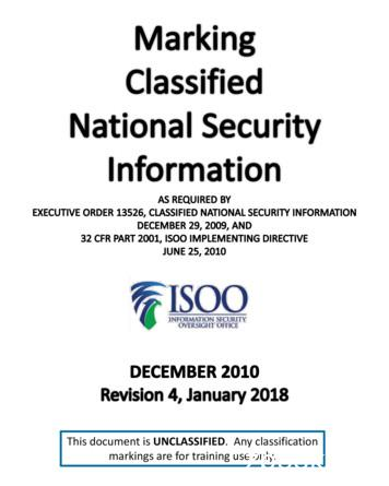 Marking Classified National Security Information