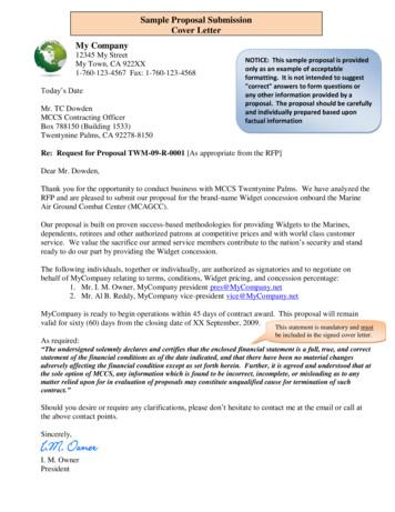 Sample Proposal Submission Cover Letter - MCCS 29 Palms
