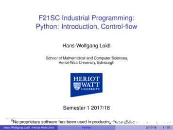 F21SC Industrial Programming: Python: Introduction .