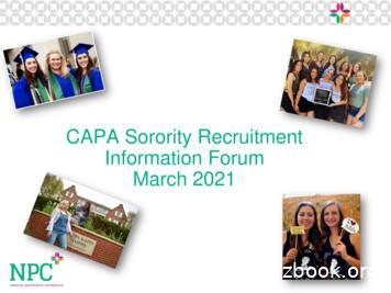 CAPA Sorority Recruitment Information Forum March 2021