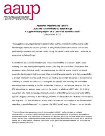 Academic Freedom and Tenure: Louisiana State University .