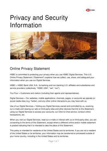 HSBC Privacy and Security Information - HSBC Bank USA