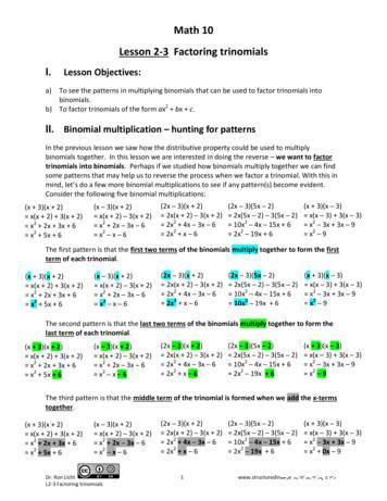 Math 10 Lesson 2 3 Factoring trinomials